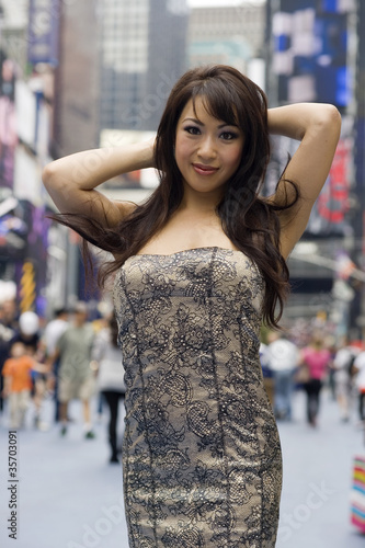 Fashion Model on Crowded City Street