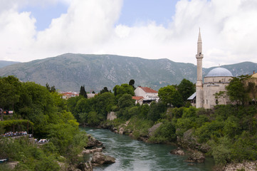 Mostar by the River Neretva in Bosnia Herzegovina