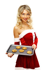 Pin up santa girl with tray of cookies