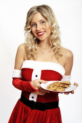 Pin up santa girl with cookies