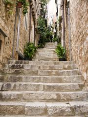 Street in  walled city of Dubrovnic in Croatia Europe