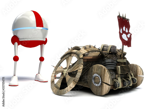 Funny robot and old car