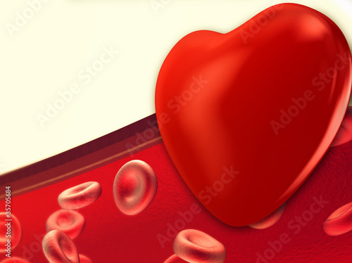 Heart and Red blood cells flowing through veins