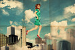 art collage with woman in clouds