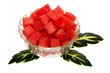 Watermelon peices in glass cup decor with green leaf
