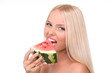 beautiful young woman eat juicy watermelon. over white..