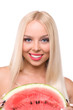 beautiful young woman eat juicy watermelon.