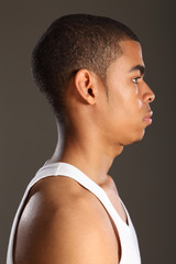 Profile of young handsome African American man