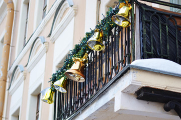 Balcony decorated with Christmas bells