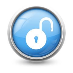 Symbole glossy vectoriel cadenas ouvert