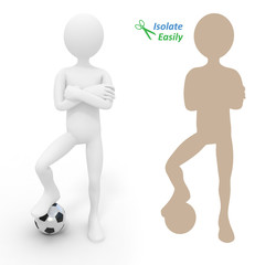 Football player with ball. Isolate easily and paste on any backg