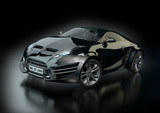 Black hybrid sports car on a black background