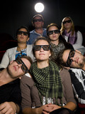 Cinema spectators with 3d glasses poster