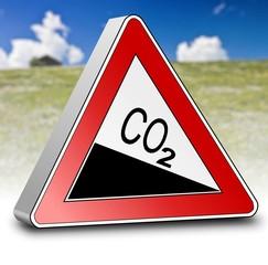 Schild CO2 reduzieren mit Wiese