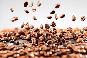 Music explosion of coffee beans, concept