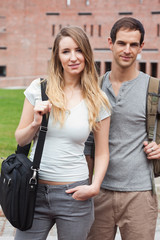 Portrait of a cute student couple posing