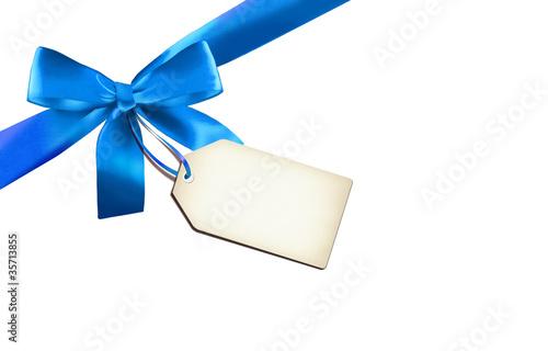 Leinwanddruck Bild Blaue Schleife mit Label