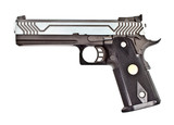 .45 semi automatic handgun on white