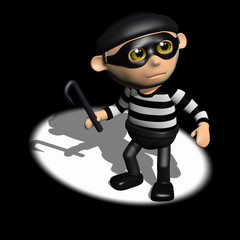 3d Burglar is in the spotlight