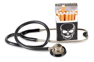 Cigarette and stethoscope