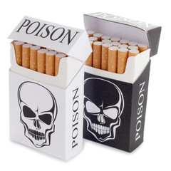 Cigarette pack with skull