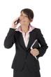 Frau im Anzug am Telefon
