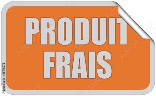 Sticker orange eckig curl oben PRODUIT FRAIS