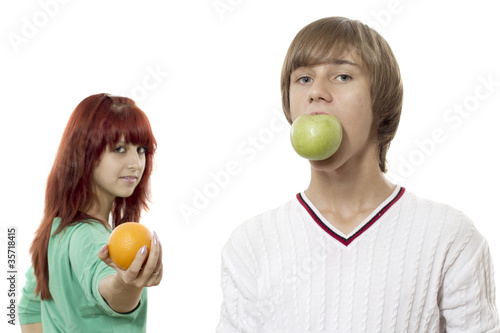 Girl with orange and boy with apple by jura, Royalty free stock ...