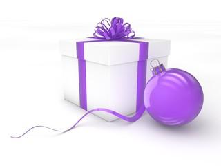 3d Rendering Geschenk mit Christbaumkugel lila violett