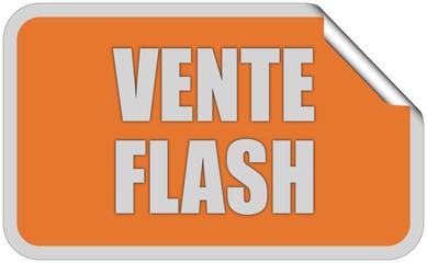 Sticker orange eckig curl oben VENTE FLASH