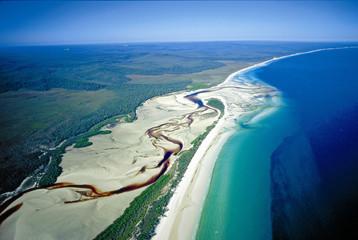 Aerial of Fraser Island.