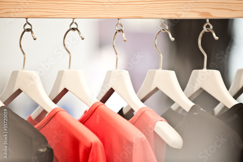 white hangers in a shop