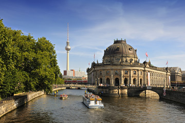 Bode Museum on Museum Island with TV Tower in background, Berlin
