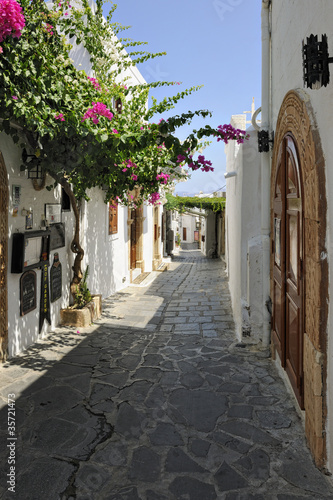 Typical narrow lane in Lindos - 35721473