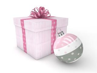 3d Rendering Geschenk mit Christbaumkugel rosa