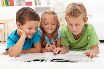 Kids practice reading together