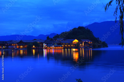 China Yunnan Lijiang Lugu Lake night view
