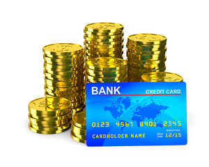 Column of golden coins and credit card. Isolated 3D image