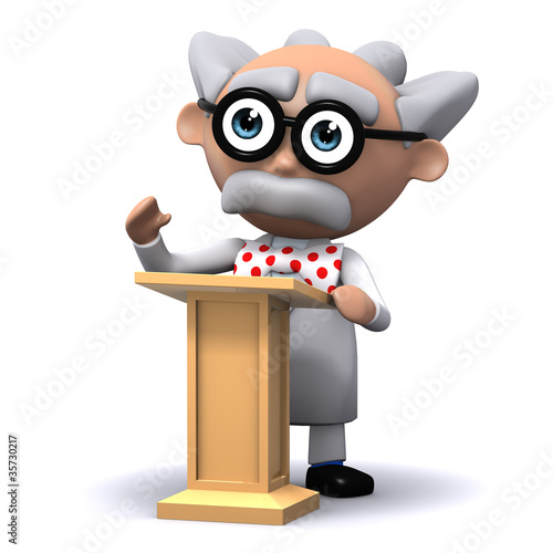 3d Mad Scientist at the lectern lecturing