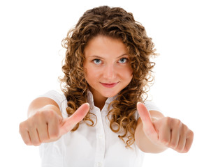 Woman showing OK sign isolated on white background