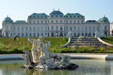Une fontaine au Palais du Belvédère à Vienne