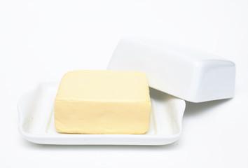 butter on white butterdish