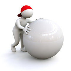 3D Man with sphere