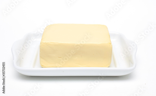 butter on white butterdish