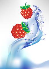 berry in splash of water