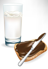 glass of milk and chocolate cream spread on toast