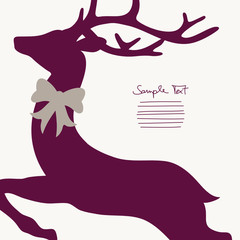 Xmas Card Flying Reindeer Purple Cropped With Bow