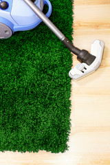 Vacuum cleaner stand  on green carpet