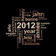 2012, voeux dans toutes les langues doré fond noir