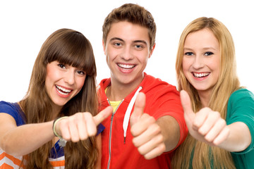 Young people with thumbs up